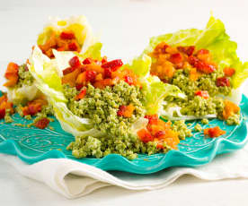 Ginger Pork Lettuce Cups with Strawberry Chutney