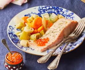 Saumon au caviar rouge, sauce à la vodka