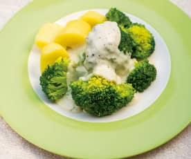 Broccoli and Potatoes with Blue Cheese Sauce