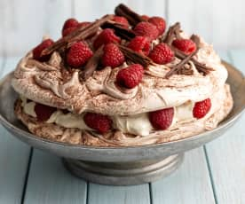 Raspberry and Chocolate Swirl Pavlova (gluten free)