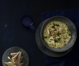 Kräuter-Risotto mit Räucherforelle