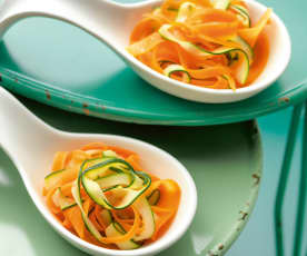 Steamed carrot and zucchini tagliatelle