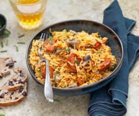 Riz aux champignons et chorizo