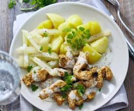 Kohlrabi mit Kerbelsauce, Putenstreifen und Kartoffeln