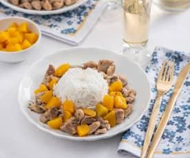 Kurczak w ziołach prowansalskich z ryżem i brzoskwiniami