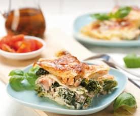Lasagne brokułowa z łososiem
