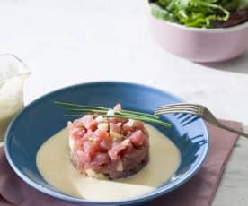 Tartar de atún rojo y crema de almendras