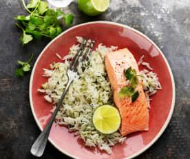 Pavés de saumon, riz coriandre et citron