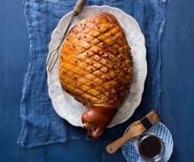 Pineapple and orange glazed ham