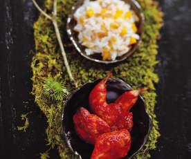 Cailles tandoori, riz à la mangue