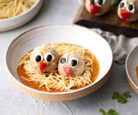Nidos de espagueti con albóndigas de lentejas