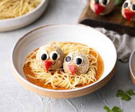 Albondigas de lentejas con espaguetis en salsa de tomate