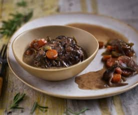 Sous-vide Pork Cheeks in Red Wine