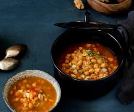 Garbanzos con verduras y arroz