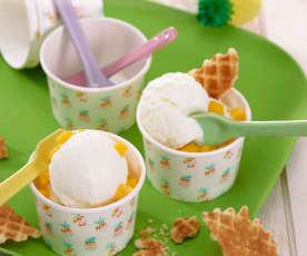 Coupe glacée petit-suisse et mangue