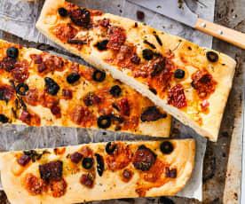 Fougasse au jambon, tomates et mozzarella