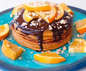 Pancakes de batata con crema de chocolate negro a la naranja