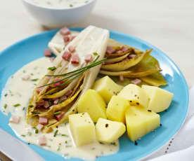 Chicorée mit Schinken, Kartoffeln und Senfsauce