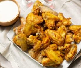 Alitas de pollo picantes con salsa Alfredo