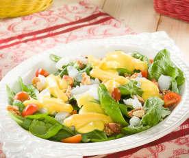 Ensalada de bacalao con vinagreta de mango