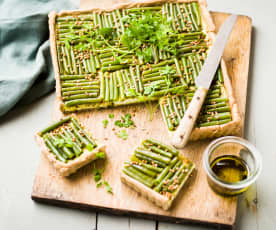 Tarte kasha, haricots verts et crème feta
