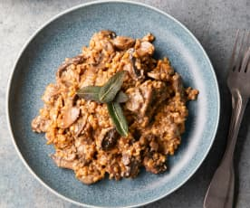 Freekeh Risotto with Mixed Mushrooms and Sage