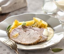 Filet de porc vapeur, pommes de terre fondantes