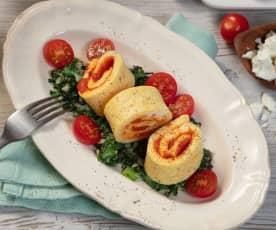 Omelettrolle mit Blattspinat