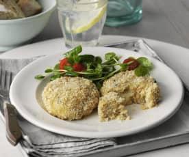Gruyère-stuffed Salmon Patties with Salad