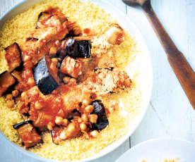 Couscous au poulet et aux aubergines