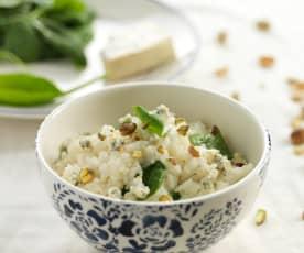 Risoto de espinafres e queijo azul