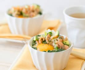 Poached egg pots with smoked salmon and avocado salsa