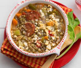 Lentejas y soja con verduras