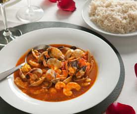 Curry de almejas y langostinos