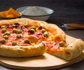 Pizza con borde relleno de queso