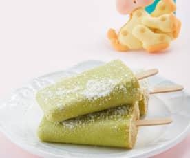 Paleta helada de pera y aguacate