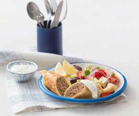 Greek lamb rolls with yoghurt dressing