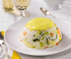 Timballo di riso con verdure in salsa curry