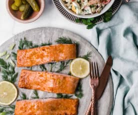 Citrus-Glazed Salmon with Roasted Cauliflower Salad