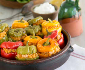 Shrimp stuffed bell peppers