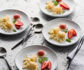 Mango truffles, strawberry spheres and white chocolate crumble
