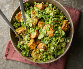 Spiced Potato Salad with Herb Yoghurt, Watercress and Peas