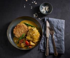 Pollo al curry caraibico con ananas e riso