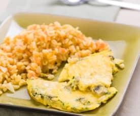 Möhren-Weizen mit Champignon-Omelette