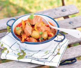 Bœuf mijoté aux aubergines et olives vertes