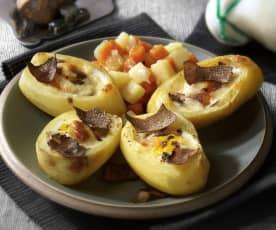 Plněné půlky brambor zapečené se sýrem