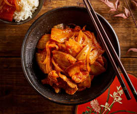辣白菜炒五花肉