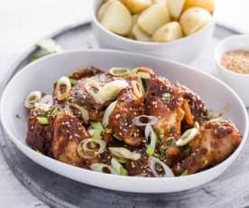 Alitas de pollo marinadas con miso