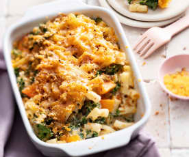 Baby-friendly Butternut Macaroni Cheese with Kale