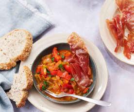 Piperade basquaise au jambon cru